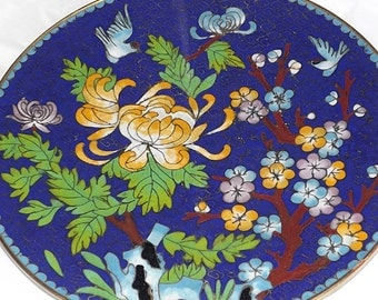 "Hand Painted Japanese Scenic Bird Flower Enamel Cloisonne Ceremic 8"" Plate"