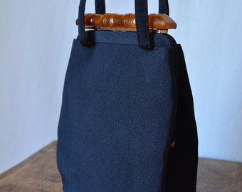 BOBBIE JEROME vintage 50s black faille evening bag with bakelite plastic closure