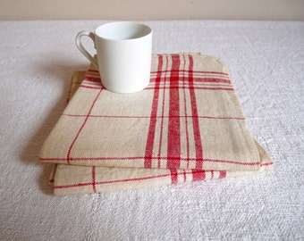 2 Antique French fine cotton towels, Red Check, French Kitchens,tea towels, French kitchen cloth, French housewares, Cottage chic, supplies