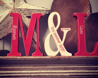 Set of 3 - Handpainted Wooden Freestanding Wedding Letters, Photo Props - 20cm, anniversary gift, personalised
