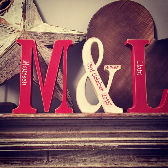 Freestanding Hand Painted Wooden Letters