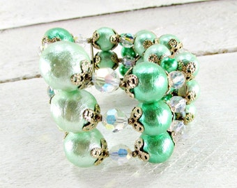 Vintage Mint Green Beaded Wrap Bracelet, Baroque Pearl Beads, AB Crystals, Chunky Bead Bracelet, 1950s Rockabilly Vintage Costume Jewelry