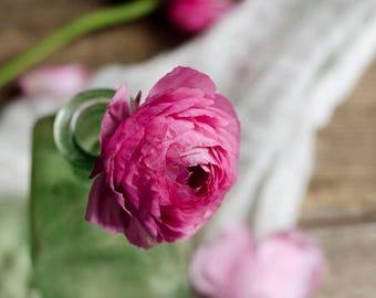 rustic floral art, floral nursery art, farmhouse decor, ranunculus art, shabby flower art, girls room decor, romantic flower art,