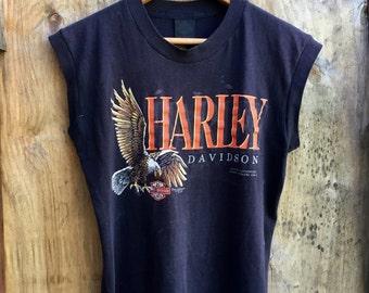 Harley Davidson Double Sided 80s Emblem Sleeveless Eagle Tshirt