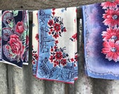 Vintage Blue and Red Floral Handkerchief Lot 1455