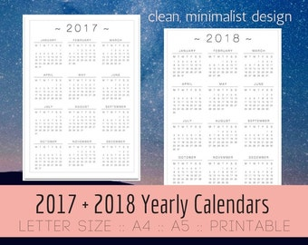 2017 Calendar PRINTABLE, 2017 + 2018 Annual Calendars, Minimalist, Yearly Calendar, A5, A4, US Letter, Wall Desk, Planner Inserts, PDF print
