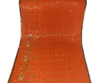 Used Sari in deep mustard Colour /vintage sari/Dress  Making fabric sarong drape Embroidered Sari