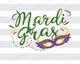 Mardi Gras SVG dxf png pdf jpg ai, Cutting file, Vector Clip art, Mardi Gras mask, diy vinyl letters, instant DOWNLOAD, beads