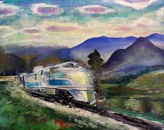 Train painting oil on wood panel-May Train - 11 x 14 inches, Trains, Railroad art, Train art