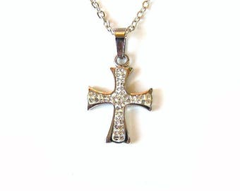 Pendant on a chain of surgical steel, Cross pendant