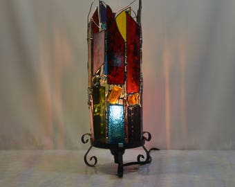 Mid Century Modern - Lamp - Decor - Home Decor - Made To Order - Pick Your Colors - Zen - Art - Colorful - Stained Glass - Modern - Original