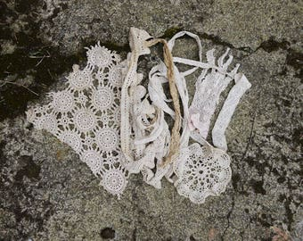 little tea stained lace lot