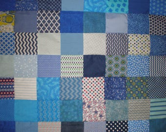 Crazy Blue Patchwork Quilt