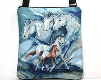 Horse Crossbody Bag - Sling Bag - Cross Body Shoulder Purse - Horses Bag - Horses Purse - Hobo Bag - Zipper Crossbody Bag - Ready To Ship