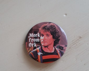 Mork From Ork Pin, Vintage Mork and Mindy Pin, Vintage Pin, Robin Williams as Mork, Shazbot, Vintage Pinback Button