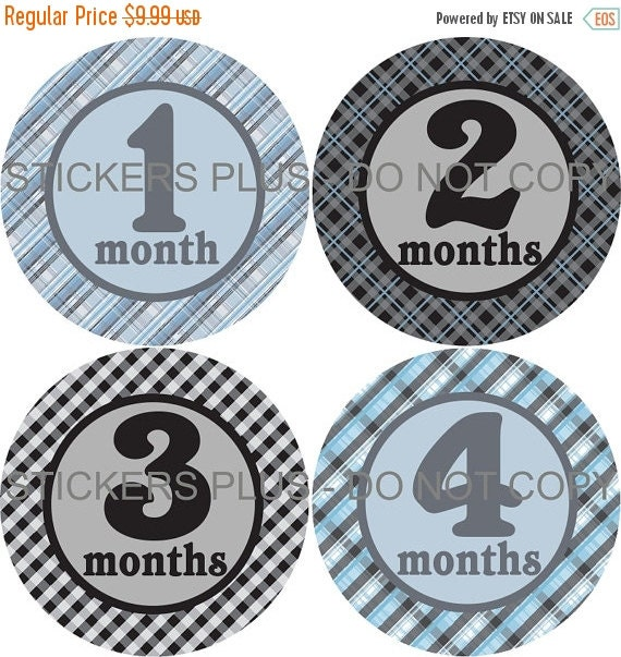 SALE Baby Boy Month Milestone Stickers Monthly Baby Stickers Blue Gray Black Plaid Gingham Bodysuit PRECUT Stickers Photo Prop Shower Gift