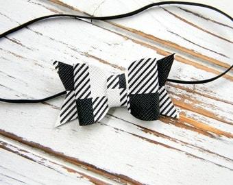 Baby Bow Headband - Plaid Bow Headband - Buffalo Plaid Bow Headband - Newborn Bow Headband - Christmas Bow Headband - Buffalo Plaid Headband