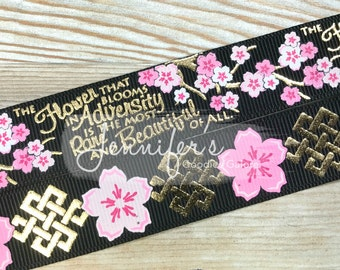 "Geisha Girl Collection, 7/8"" US Designer Black Ribbon, Gold Foil Ribbon, Cherry Blossom Ribbon, Adversity, Hair Bow Ribbon"