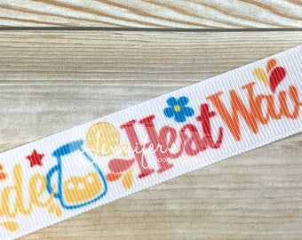 "Summer Ribbon, 7/8"", Lemonade Ribbon, Flip Flop Ribbon, Sunshine Character, HeatWave Ribbon, Ribbon for Bows, Hair Bow Supplies"
