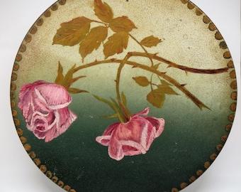 Vintage Painting Roses on a Metal Plate Folk Art