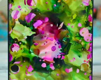 Handpainted Abstract Rosebush / Alcohol Ink on Yupo / Colorful Wall Art / Spring Decor / Mother's Day / Pink and Green / Ready to Hang