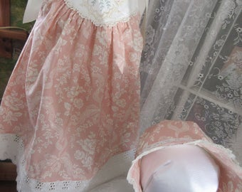Girls Easter dress and bonnet, Peach cream Easter outfit,  toddler infant Easter dress,12m 18m 2T 3T 4T to order