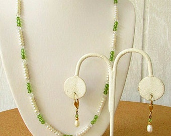 vintage 90s fresh water pearl and peridot necklace matching leverback dangle earrings lee sands