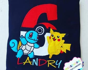 Pokemon Birthday Shirt with Pikachu and Squirtle