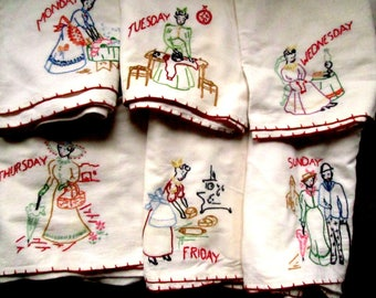 6 Days of the Week Hand Embroidered Towels, Vintage