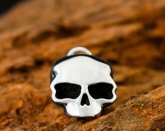 Handmade Dogstone Solid 925 Sterling Silver Death Mask Skull Pendant / Charm