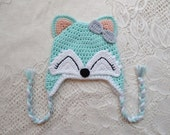 Mint and Peach Colored Fox Crochet Hat - Wildlife Animals - With Bow - Winter Hat or Photo Prop - Available in Any Size or Color Combination
