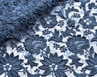 Dark Blue Venice Lace Fabric, Blue Embrodered Floral Lace Fabric, Bides Maids, Formalwear, Couture Fabric, Fancy Blue Dress, Blue Gown