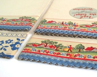 Royledge Kitchen Cupboard Shelf Edging Paper Border Red Blue White Houses Flowers People