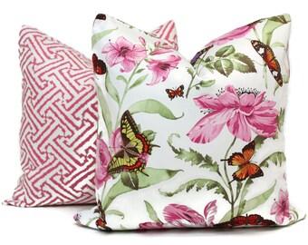 Pink Floral Decorative Pillow Cover Square, Eurosham or Lumbar Pillow Cover, Toss Pillow, Throw Pillow