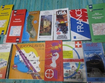 Vintage Map Cartography Lot Europe USA France Mix of 13 DIY Decoupage Display
