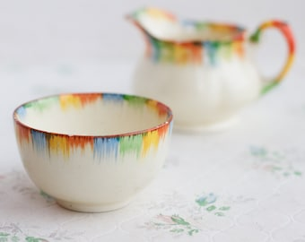 Colorful Drips Porcelain Pitcher and Cup Bowl Set - Grindley Made in England