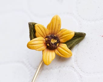 Yellow Flower Stick Pin - Leather Summer Brooch - Vintage Summer Lapel Pin - Tie Pin