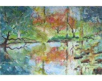 Willowwood Arboretum - an Original Watercolor of Fall Reflections