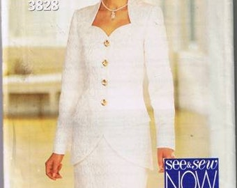 Butterick 3828 - See and Sew - Misses Formal Top & Skirt - Sizes 18-22 - UNCUT