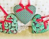 "Christmas Heart Ornaments Set of 3 Ornaments Red Green Gold Print Hearts 3"" each, Handmade Hearts CharlotteStyle Decorative Folk Art"