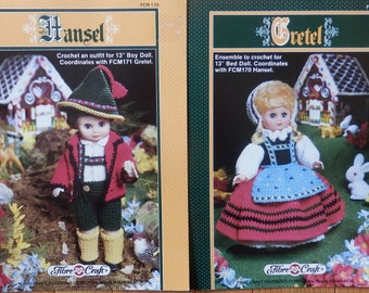 "Fibre Craft set of 2 Crochet Doll Patterns Hansel and Gretel Fairy Tale Dolls 13"" fashion doll original pattern"