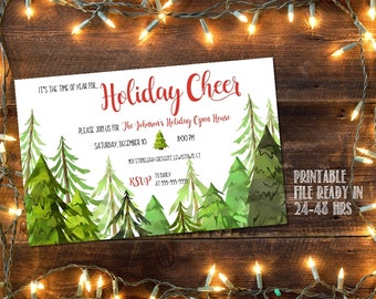 Printable Christmas Party invitation / Christmas tree party invitation / open house invitation / holiday party invitation