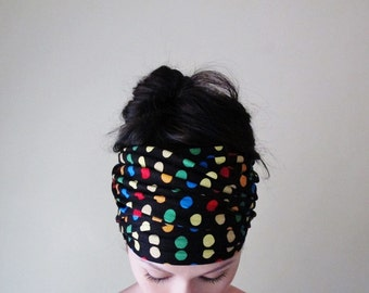 POLKA DOT Head Scarf - Colorful Polkadot Hair Wrap - Fun Headband - Multicolor Womens Hair Accessory - Carnival Hair Acccessories