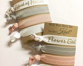 Will You Be My Bridesmaid, Will You Help Me Tie The Knot, Bridesmaid Hair Ties, Bridesmaid Gift, Pink Gray Wedding Favor