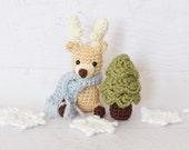 PATTERN - Crochet Reindeer and Bear pattern - Samantha Snowflake - amigurumi stuffed toy tutorial baby toy softie PDF crochet pattern