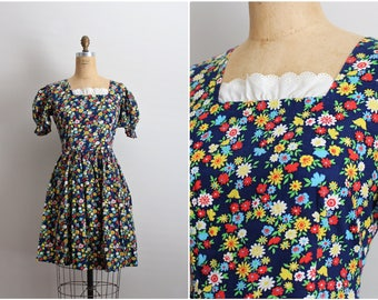 90s Floral babydoll Dress / 1990s Dress/ Puffy Sleeves Dress/ Size S/M