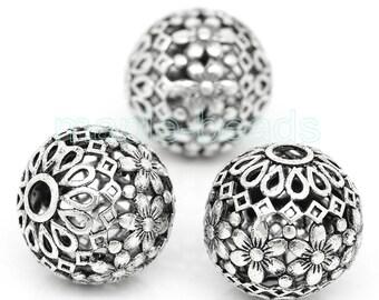 2pcs-Huge focal bead- 17mm Filigree antique silver round beads, Tibetan silver  DIY beads