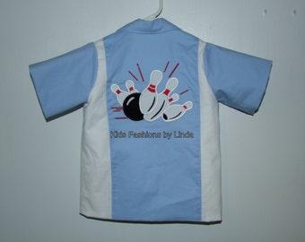 Light Blue/White Birthday Boy  Bowling Shirt II