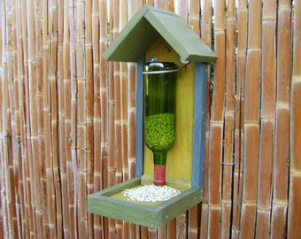 Bottle BIRD FEEDER, Rustic Hand Painted, with GREEN Wine Bottle, (bird seed not included) Ready to Ship