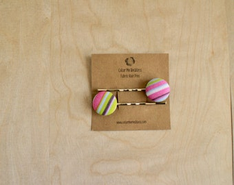 Hair Clips - Pink, Green, Brown Stripes